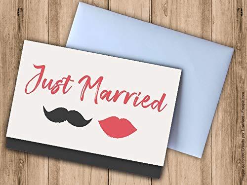 Tarjeta regalar dinero boda Just Married. Sobres bodas