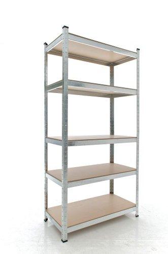 CLP Schwerlastregal, Metall, verzinkt, Tragkraft 875 kg, 5 Böden, Lagerregal Farbe + Höhe wählbar silber, 180 x 90 x 40 cm - 2