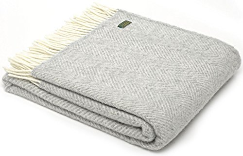 Herringbone pure new wool knee rug throw - silver grey BRITISH MADE by Tweedmill Textiles (New Herringbone)