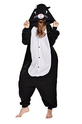 Tier Onesie Schwarz Katze Pyjama Kostüme Kigurumi Schlafanzug Erwachsene Unisex Mann Dame Cosplay Jumpsuit L