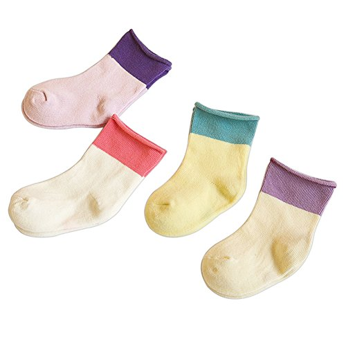 CHIC-CHIC 4 Pairs Toddler Newborn Baby Socks Lovely Soft Elastic Ankle Socks for Girls Boys Infant