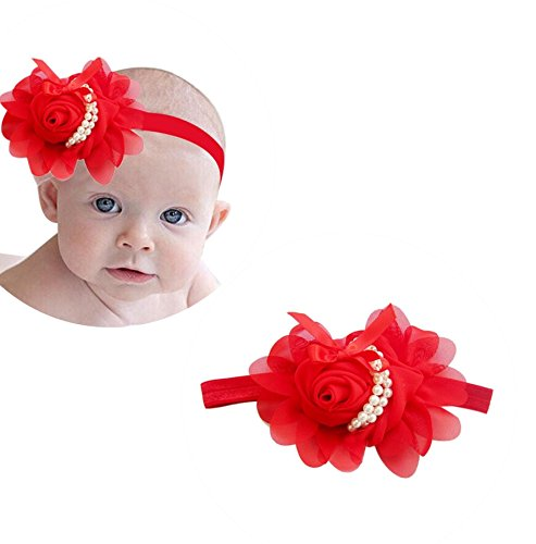 Ziory Chiffon Pearl Headband Rose Satin Bow Hairband for Girls