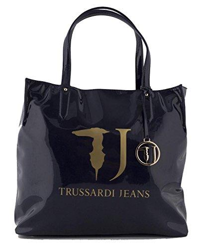 TRUSSARDI JEANS Borsa shopping a mano in pvc vernice lucida BLU 75B01VER49
