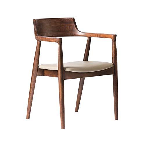 WMWZ Presidential Dining Chair Mitte Century mit Ledersitz, Ergonomics Dining Table und Stuhl Dermis, Holzstuhl Stall für Garten-Indoor -