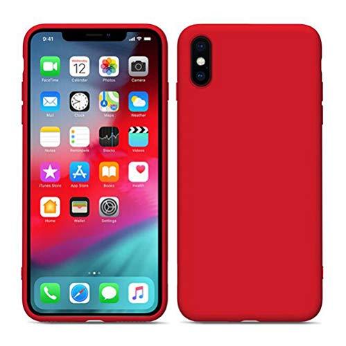 Apple Phone Case Für iPhone XS Max/Xs/Xr / 8/7/6 Plus Flüssiges Silikon, Ultradünne Anti-Fall-Schutzhülle Phone Shell Drop Sleeve,Red,AppleXr Shell Drop