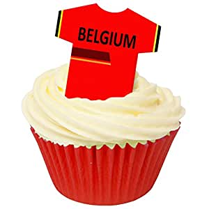 Pack of 12 Edible Wafer Decorations - Belgium Football Shirts 201-427