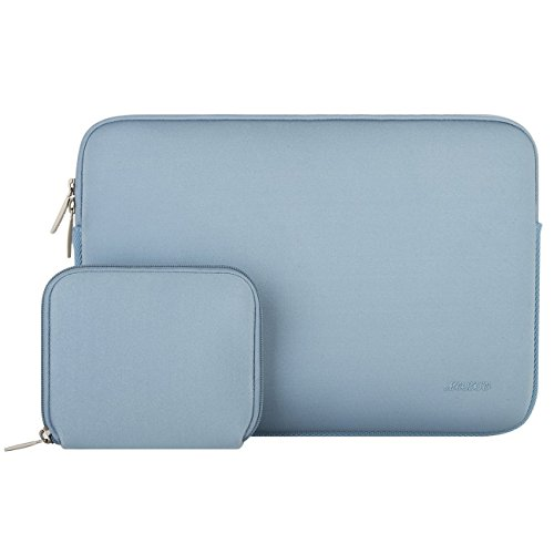 MOSISO Wasserabweisend Neopren Hülle Sleeve Tasche Kompatibel 13-13,3 Zoll MacBook Pro, MacBook Air, Notebook Computer Laptophülle Laptoptasche Notebooktasche mit Kleinen Fall, Air Blau