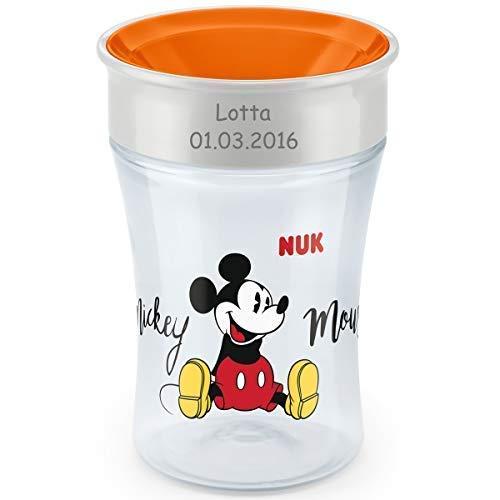 lernbecher mit persönlicher Gravur, 230ml, ab 8 Monaten, Mickey Mouse (orange) ()