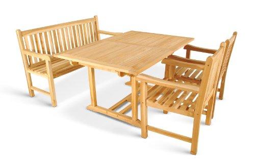 XXS Gartengruppe Caracas aus Teak-Holz, 4 teilig, Garten-Tisch mit Schirmloch, 1 x Garten-Bank, 2 x Garten-Sessel Terrassen-Möbel aus Massiv-Holz, Gartenmöbel Oberfläche geschliffen