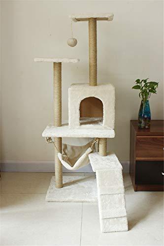 Cat Tree Condo Furniture Multi-Level-Deluxe und Seilkätzchen Activity Tower Pet Kitty Spielhaus mit Kratzbäumen Hängematte,Beige