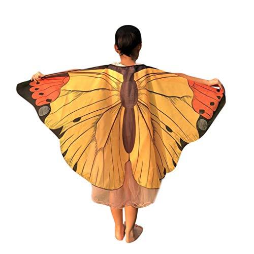 OdeJoy Unisex Kinder Schmetterling Gedruckt Phi Wind Flügel Umhang Poncho Kostüm Zubehörteil Kind Tanzen Mantel WeichGemütlich Niedlich Kinder Karikatur Kleider (1 PC, Gelb)