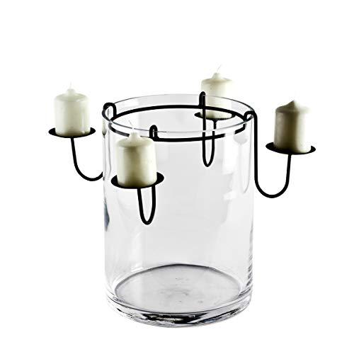Varia Living Großes Windlicht/Laterne aus Metall mit Glaseinsatz in schwarz wunderschöne Deko als Blumenvase auf dem Tisch | auch als Kerzenleuchter auf dem Balkon oder Terrasse im Garten