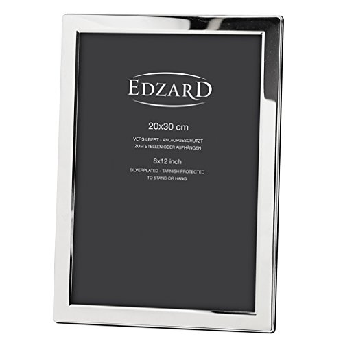 EDZARD Fotorahmen Salerno für Foto 20 x 30 cm, geeignet für Eine Din A4 Seite, edel Versilbert,...