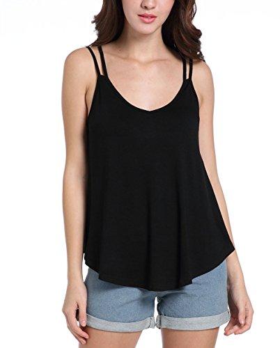Chickwin Frauen Sommer beiläufiges reizvolles V-Ansatz T-Shirt Weste Spitze Schlinge Sleeveless Blusen Oberseiten (S, (Order Anzüge Mail)
