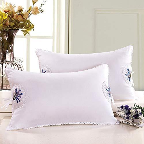 2-teiliges Kissen Kern aus hochwertiger Baumwolle Feder Samt Kissen Lavendel bestickt Kissen Lavendel 74x48cm - Lavendel Samt