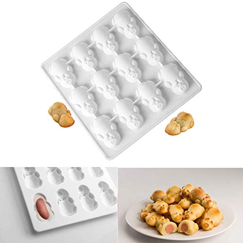 VENMO Home 12 Schweinchen Silikon Kuchenform/Tortenform Mini-TöRtchen-Backblech, Cupcake Backform Mit Antihaftbeschichtung FüR Kleine Kuchen Menge(Weiß)