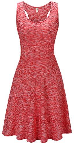 KorMei Damen Ärmelloses Beiläufiges Strandkleid Sommerkleid Tank Kleid Ausgestelltes Trägerkleid Pink-D40 ()
