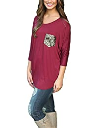 Blansdi Damen Mädchen Frauen Frühling Herbst Beiläufig 3 4 Ärmel lösen  Langarmshirt Pullover Pailletten Tasche Lose T-Shirt Tops… 47ef0c692b