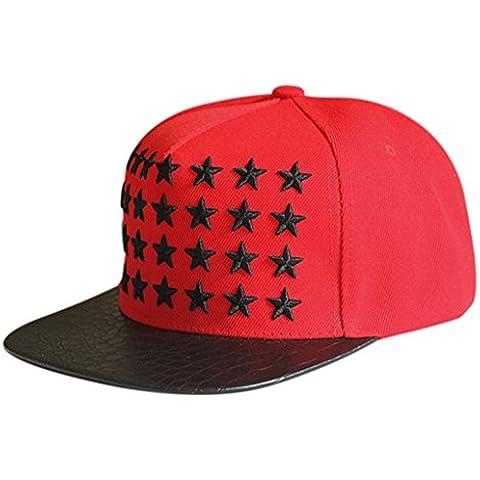 Casquillo de la estrella de béisbol,Longra Baile Hip Hop Hip Hop plana sombrero (Rojo)