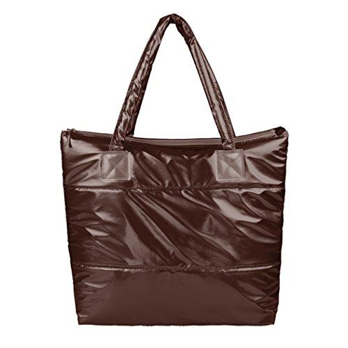 Borsa a mano-borsa a tracolla cotone invernale All4you spazio Bale Totes donne Bag(Brown)