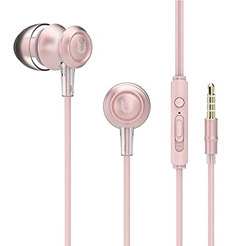 UiiSii US60 Bambus Ohrhörer In-ear Kopfhörer mit Mikrofon, Lautstärkenregler und