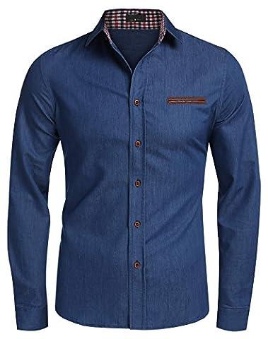 Coofandy Men's Casual Dress Shirt Button Down Shirts Medium Sky Blue