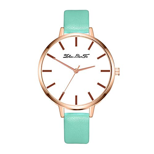 Tyoby Damen Uhren Einfach Hipster Verstärktes Glasleder Quarzuhr,Schön Muttertagsgeschenk(Minzgrün2)