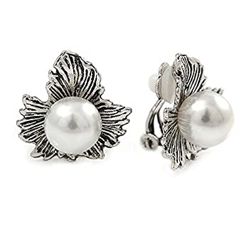 Vintage Inspired Maple Leaf With Simulated Pearl Bead Clip On Earrings In Silver Tone - 20mm L 1