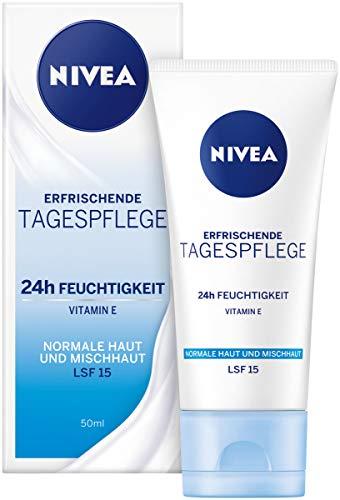 NIVEA Tagespflege 24h Feuchtigkeit + Frische im 1er Packung (1 x 50 ml), Feuchtigkeitscreme mit LSF 15, Tagescreme für normale & Mischhaut