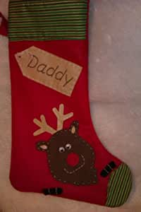 Christmas Stocking personalised with a name Handmade Red Reindeer