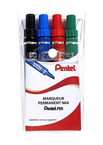 pentel-n60-pochette-de-4-marqueurs-permanents-pointe-biseautee-assortis-noir-bleu-rouge-vert