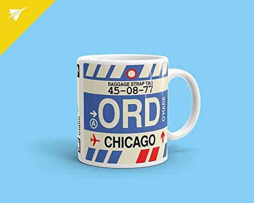ChGuangm Coffee Mug Chicago Illinois ORD Birthday Gift Housewarming Gift Travel Gift Thank You Gift Office Gift Teacher Gift