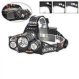 Louvra Linterna Frontal Lámpara Cabeza Luz Potente3XML-L2 7000lm 4 Modos para Pescar, Montar en Bici, etc, Color Negro