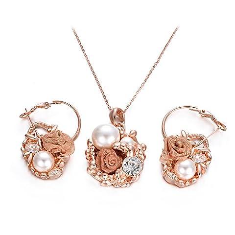 Yoursfs-Parure Femme-Boucles d'oreilles et Collier-18k plaqué Or-Perle de culture et Diamant de synthèse-Pendantes Fleur-Cadeau Anniversaire Fête des mères