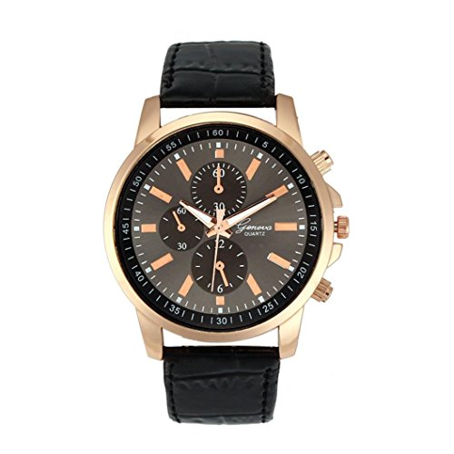 Fasching Karneval Uhren Dellin Unisex Casual Genf Kunstleder Quarz Analog Armbanduhr (Schwarz)