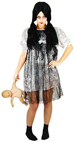 Foxxeo 40173 | weißes Horror Puppen Kleid Halloween Kostüm Damen Zombie Geist Karneval Gr. S-XL, (Puppe Kostüm Halloween Kleid)
