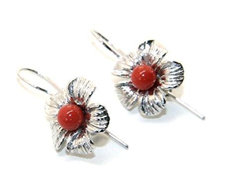 NALBORI Orecchini in Argento 925 pallina perla calibrata corallo naturale rosso e fiore amo e sicurezza