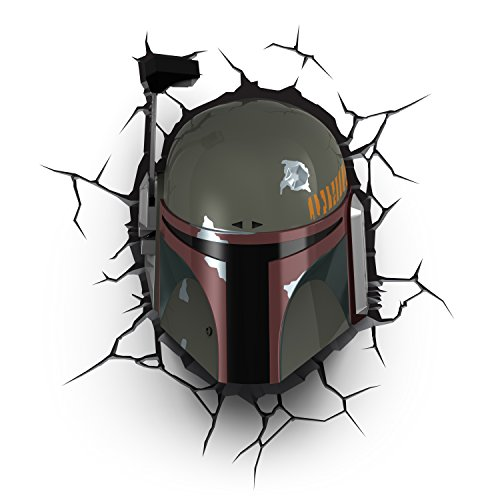 Star Wars – Boba Fett 3D Light FX – Nightlight LED – Wall light with crack sticker - Battery operated