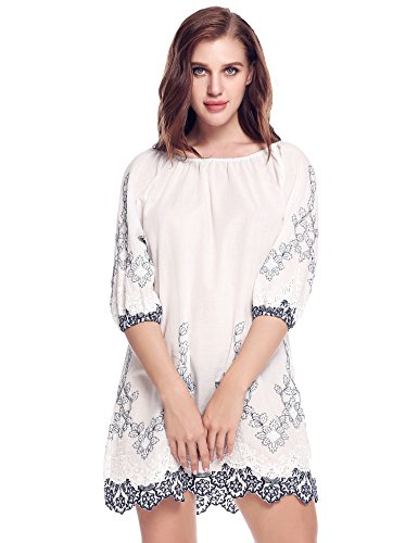 Meaneor Damen Longbluse Casual Tunika Minikleid aus Baumwolle mit 3/4 Ärmeln Rundausshnitt Blau