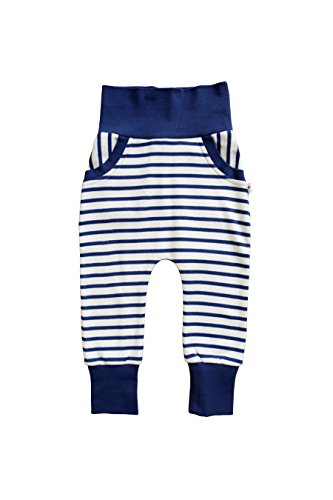 Leela Cotton Babyhose Haremshose Kinder 100% Bio-Baumwolle Pumphose Hose, marine gestreift (86/92) -