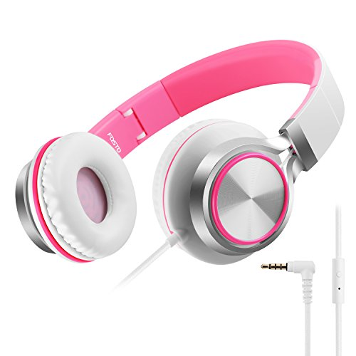 Headphones, FOSTO FT58 Stereo Foldable Headset Strong Low Bass Headphones with Microphone for iPhone, All Android Smartphones, PC, Laptop, Mp3/mp4, Tablet Earphones (white/pink)
