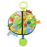 VNEIRW Baby Tuchbuch, Bunt Spielzeug Entdeckungsbuch mit Glocke, 3D Karikatur Stoffbuch, Baby Buch Anhänger zur Stärkung der Eltern-Kind-Beziehung, Kinder Rasseln, Lernspielzeug, Bett hängen (A)