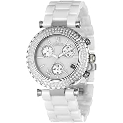 Precimax Women's PX13190 Lily Elite Crystal Mother-Of-Pearl Dial White Ceramic Band Watch