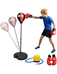 Boxing Punch Bag for Kids ,Punching Bag with Boxing Gloves Free Standing Punching Ball for Children Adjustable Height 80-110cm