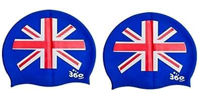 Union Jack Uk Gb Flag Patriotic Silicone Swimming Cap One Size Men Women Youth by 360 Swim