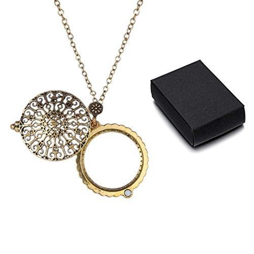 SwirlColor Reich Verzierte Lupe Halskette Lupe Schiebedeckel Magnetische Anhänger Halskette, mit Gratis Geschenkbox - Magnetische Anhänger
