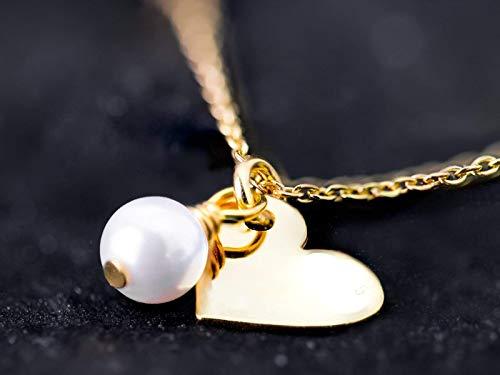 Romantische Herz-Kette mit Perle, zierlicher Perlen-Schmuck gold, vergoldete 925er-Sterling-Silber-Kette mit Herz und Mini-Perle, das Geschenk für die Liebste