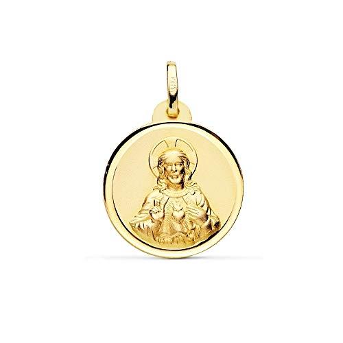 Medalla Oro 18K Escapulario 20mm. Virgen Del Carmen Corazón De Jesús Bisel