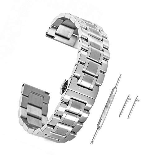 Edelstahl Uhrenarmband Uhrenarmbänder mit Faltschließe Metall Uhr Armband mit 4 STK Federstege und Federstift ()