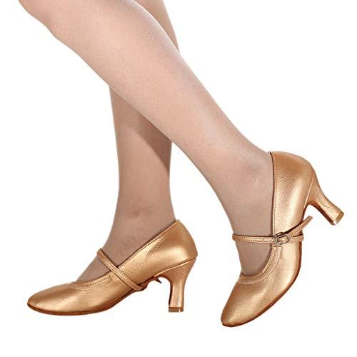 Mymyguoe Moderne Tanzschuhe Damen Geschlossene Zehe Pumps High Heels Spulen-Ferse Mary Jane Halbschuhe Ballsaal Standard & Latein Tanzschuhe Salsa Tango Walzer Soziale Tanzschuhe für Innen-Tanzen (Mary Mädchen Für Jane Turnschuhe)